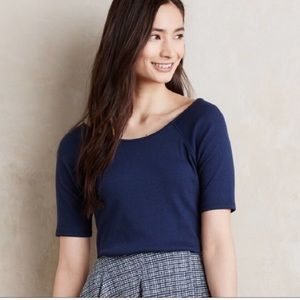 Anthropologie Postmark sumí top ribbed blouse XS